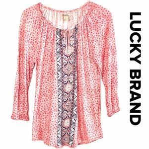 [Lucky Brand] red printed 3/4 sleeve top #K09